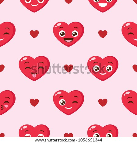 Vector seamless background with funny hearts on pink background