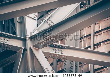 Steel Bridge frame close up. Toned image Royalty-Free Stock Photo #1056675149