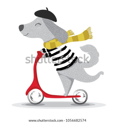 cute dog illustration.Cartoon character with a scooter.
