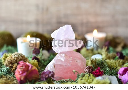 stacked rose quartz in fairy garden