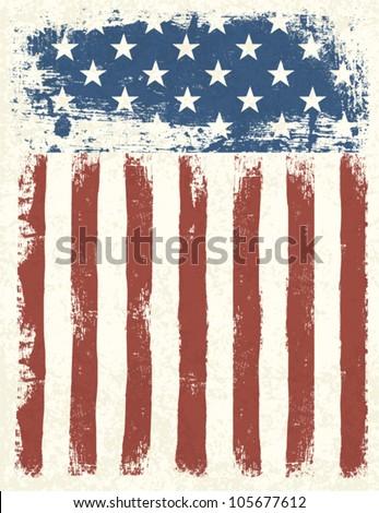 Grunge American flag background. Vector illustration, EPS 10.