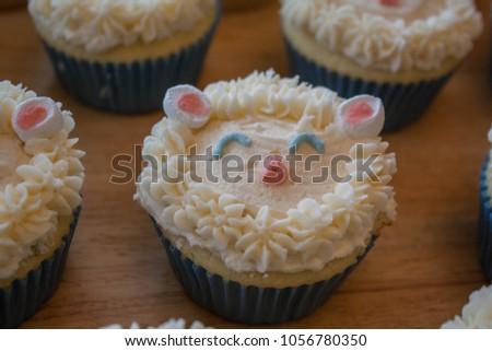 cute lamb cupcakes Royalty-Free Stock Photo #1056780350