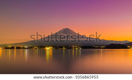 Aerial Skyline Landscape of Fuji Mountain. Iconic and Symbolic Mountain of Japan. Scenic Sunset Landscape of Fujisan at Evening Time, Kawaguchiko, Yamanashi, Japan. #1056865955