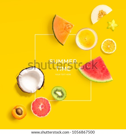 Creative layout made of summer fruits.  Tropical flat lay. Food concept. Melon, coconut, watermelon, kiwi, apricot, lemon and orange juice on yellow background. #1056867500