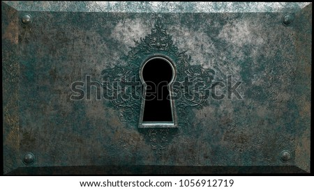 Fantasy Carved Keyhole - Alternate A fantasy inspired keyhole in corroded metal, decorated with Griffin carvings. The keyhole is black for easier artistic use. 3d rendering. #1056912719