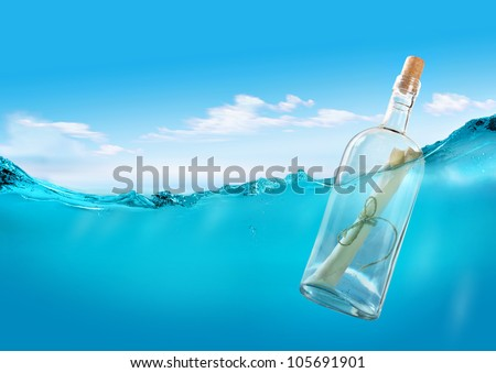 Bottle with a message Royalty-Free Stock Photo #105691901