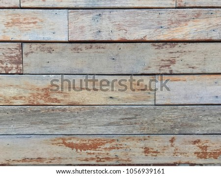 old shabby brown natural wooden floor pattern paneling cover around outdoor swimming pool, arranged in a straight line, peeling surface by water and sunburn, texture background for classic design #1056939161
