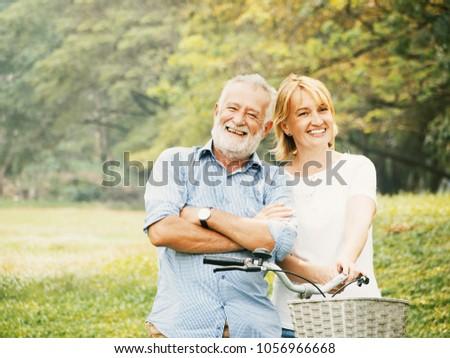 Portrait Happy Elderly couple Living in retirement with happiness in the garden. #1056966668