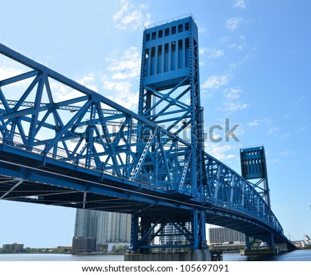 Jacksonville's famous blue main street bridge, florida, usa.