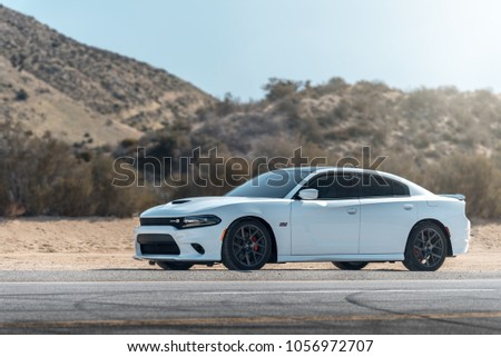 LA, California; March 24, 2018. Dodge Challenger Scat Pack on the front of mountain. Editorial photo. #1056972707