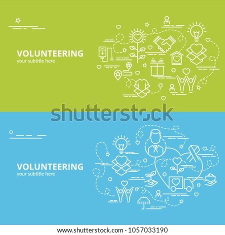 Flat colorful design concept for Volunteering. Infographic idea of making creative products.
