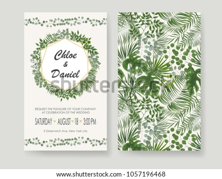 Wedding Invitations, RSVP modern card design. watercolor, Botanical, natural style. save the date card design with leaves, fern. set of vector invitation cards with patterns of green leaves in rustic  #1057196468
