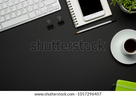 Office desk table with supplies. Flat lay Business workplace and objects. Top view. Copy space for text #1057296407