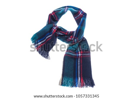 Checkered scarf it is isolated on a white background #1057331345