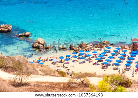 People at the famous beach of Konnos Bay Beach, Ayia Napa. Famagusta District, Cyprus. #1057564193