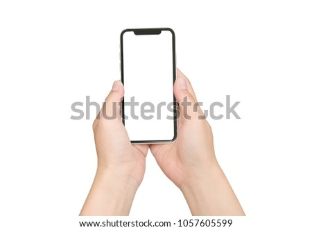 Female hand holding black cellphone with white screen at isolated background. #1057605599