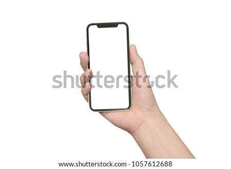 close up hand hold phone isolated on white, mock-up smartphone white color blank screen #1057612688