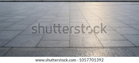 Perspective View of Monotone Gray Brick Stone on The Ground for Street Road. Sidewalk, Driveway, Pavers, Pavement in Vintage Design Flooring Square Pattern Texture Background #1057701392