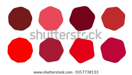 Set of vector starburst, sunburst badges. Collection red different color. Simple style Vintage labels. Design elements. Colored stickers. Vector illustration eps10 of types and colors icon #1057738133