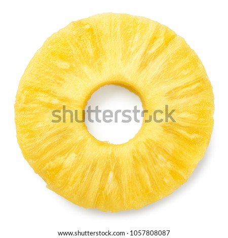 Pineapple slice isolated. Pineapple ring on white. #1057808087