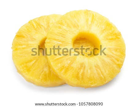 Pineapple slice isolated. Pineapple rings on white. #1057808090