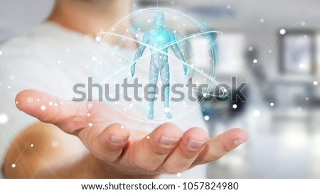 Businessman on blurred background using digital x-ray human body scan interface 3D rendering #1057824980
