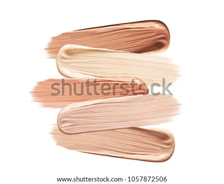 Shades Of Foundation On White Background. Closeup Of Different Tones Of Liquid Foundation, Makeup Product Texture. High Quality #1057872506