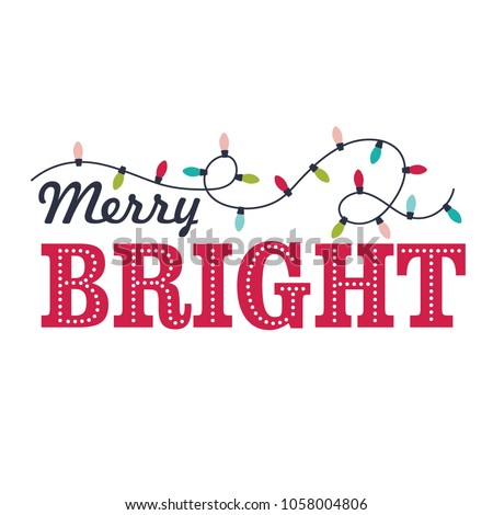Christmas card with lamp and Christmas bright word design