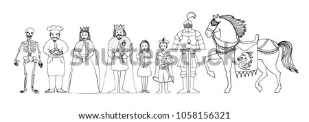 children's fairytale set of royal family - king, queen, princess, prince, knight, cook, skeleton and horse, vector hand drawn illustration, cartoon ink outline