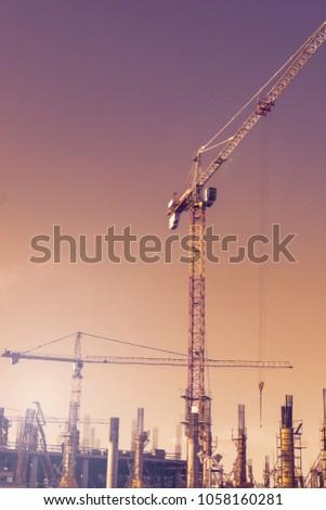 Construction crane. construction works. #1058160281
