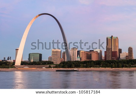 St Louis and The Arch from across the Mississippi river at sunrise