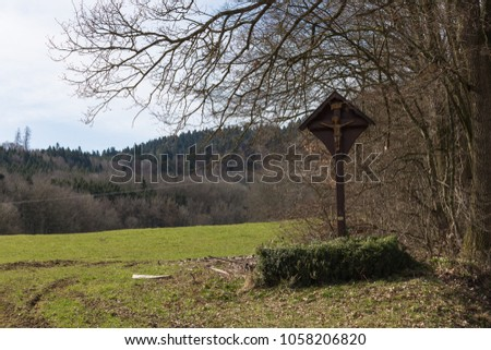 nature landscape of wanderlust in south germany rural countryside at easter springtime holiday sunny blue sky morning #1058206820