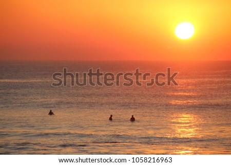 Landscape of Manly beach sunset, Sydney Australia #1058216963