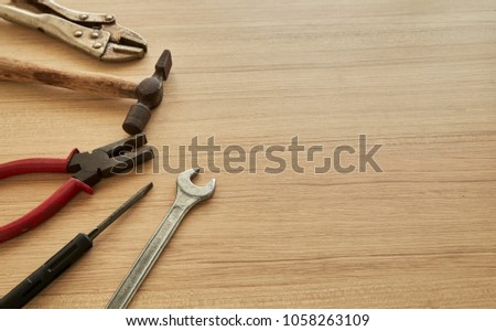 tools supplier on wood backgrounds. Place for your text,  #1058263109