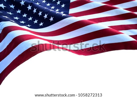 Flag of the USA with sunflare #1058272313