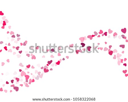 Pink Valentine's day scatter of doodle hearts banner or card template. Flying heart confetti airy curve waves vector pattern. Holiday decoration with tenderness symbols confetti flying love background