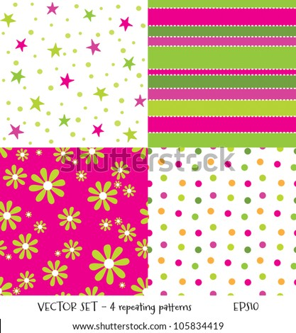 Vector set of 4 cute seamless background patterns. Can be used for textiles and surface textures, scrap-booking, greeting cards, gift wrap, wallpapers. See my portfolio for JPEG versions.