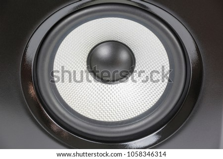 single black professional sound studio monitor on white background #1058346314