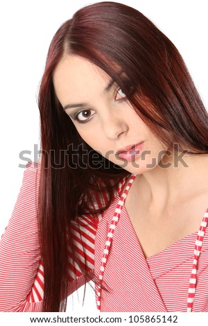 Beautiful young woman with long red hair #105865142