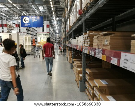 Kuala Lumpur, Malaysia March 31, 2018: IKEA Supermarket is a well-known supermarket with beautiful and modern home furnishings, offering good service through efficient and convenient service for visit #1058660330