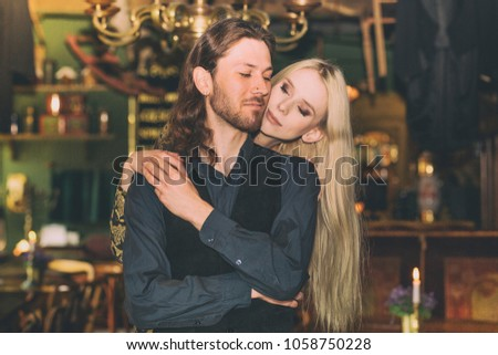 Couple in retro cafe, love, retro style, old style #1058750228