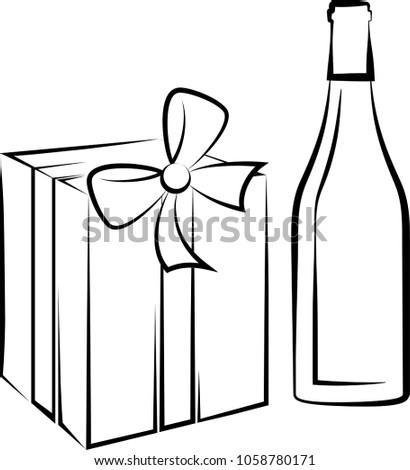 Wine Bottle And Gift Pack Raster Art Illustration