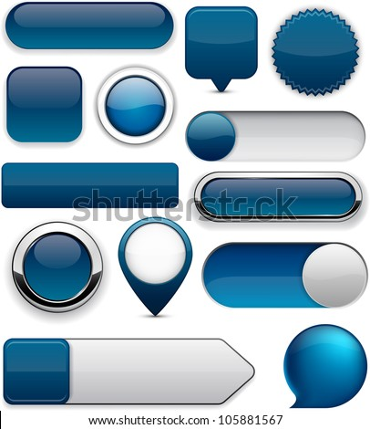 Blank Dark-blue web buttons for website or app. Vector eps10. Royalty-Free Stock Photo #105881567