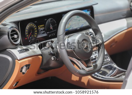 Switzerland; Geneva; March 8, 2018;  Mercedes-Benz dashboard; the 88th International Motor Show in Geneva from 8th to 18th of March, 2018. #1058921576