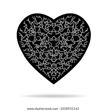 Black love heart with gray pattern and shadow on white background. Romantic vector illustration #1058935142
