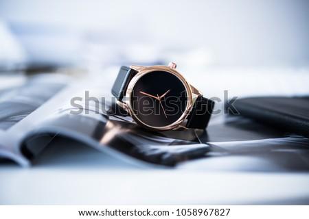 Elegant business men fashion no brand wrist watch, men fashion a Royalty-Free Stock Photo #1058967827