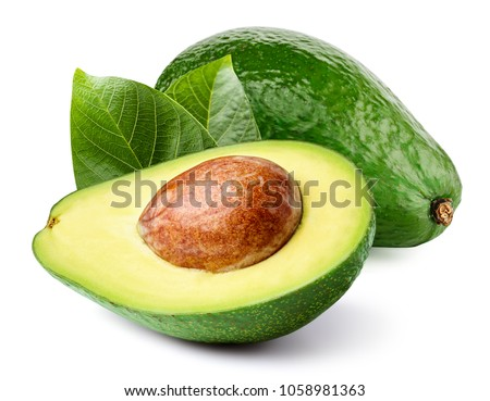 Avocado with leaf isolated on white Clipping Path. Professional food photography  Royalty-Free Stock Photo #1058981363