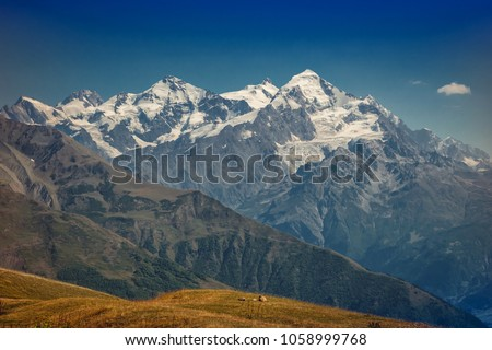 The Caucasus mountains in Georgia country. Beautiful mountain landscape. Svaneti. Nature and  Mountain background.  #1058999768