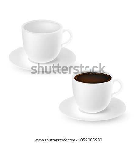 Realistic white emty and full cups of coffee isolated on white. Vector illustration. #1059005930
