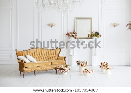Interior of white room in classic royal luxury style with beautiful sofa #1059054089